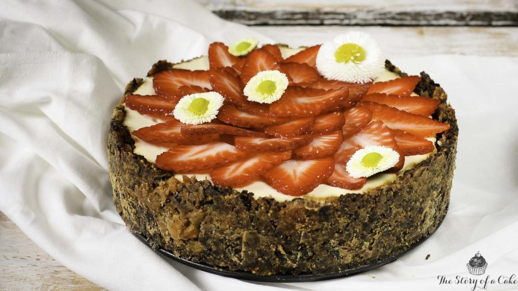 Cheesecake s bielou čokoládou a slivkovo-figovým korpusom