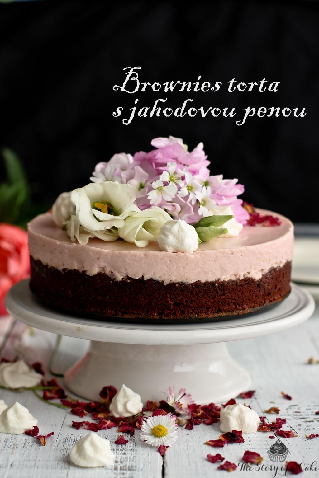Brownies torta s jahodovou penou