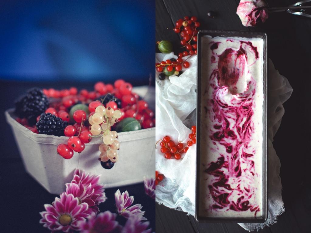 Mandľová zmrzlina s bobuľovým ovocím (Almond ice cream/frozen yoghurt with berries)
