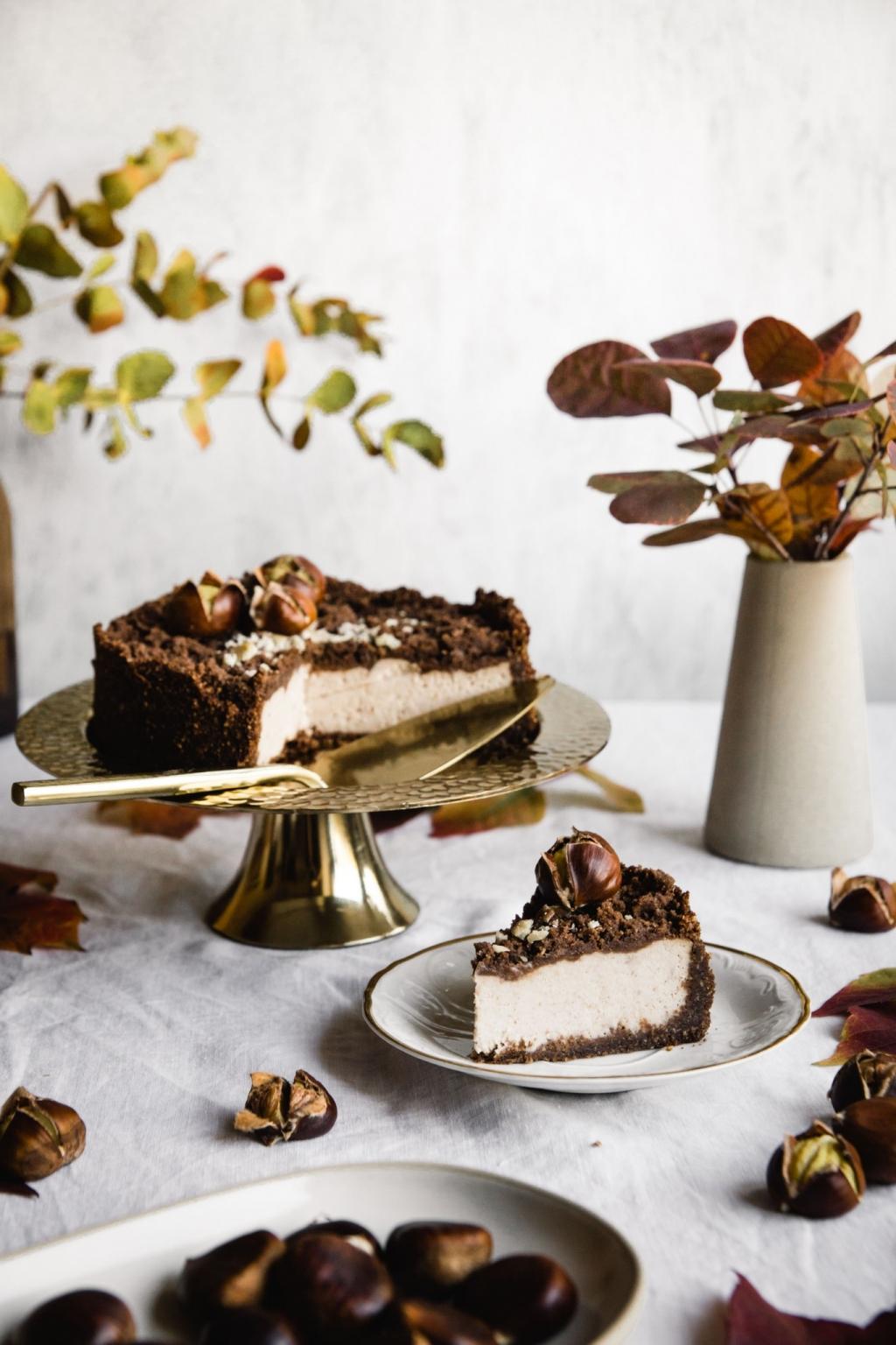 Gaštanový koláč s posýpkou