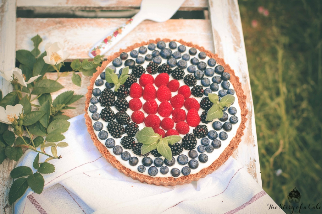 Nepečený tvarohový tart s ovocím
